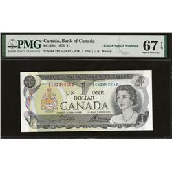 Bank of Canada BC-46b 1973 $1 GEM67 EPQ PMG RADAR