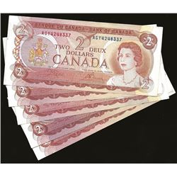 LOT OF 5 Bank of Canada 1974 $2 EF