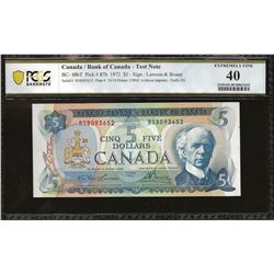 Bank of Canada BC-48bT 1972 $5 EF40 PCGS TEST NOTE