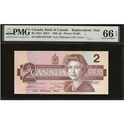 Bank of Canada BC-55bA 1986 $2 BBX replacement SMALL B GEM66 EPQ