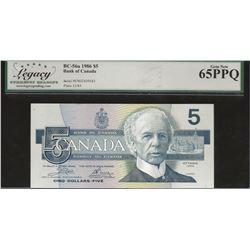 Bank of Canada BC-56a 1986 $5 Yellow BPN GEM65 PPQ LEGACY