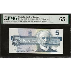 Bank of Canada BC-56a 1986 $5 Yellow BPN GEM65 EPQ PMG