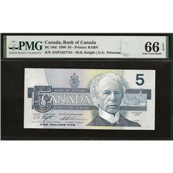 Bank of Canada BC-56d 1986 $5 GEM66 EPQ
