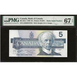 Bank of Canada BC-56e-i 1986 $5 GEM67 EPQ PMG RADAR