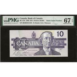 Bank of Canada BC-57b 1989 $10 GEM67 EPQ PMG RADAR