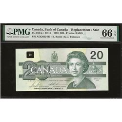 Bank of Canada BC-58bA-i 1991 $20 AIX replacement GEM66 EPQ PMG