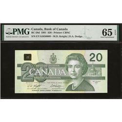 Bank of Canada BC-58d 1991 $20 GEM65 EPQ PMG