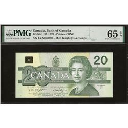 Bank of Canada BC-58d 1991 $20 GEM65 EPQ PMG