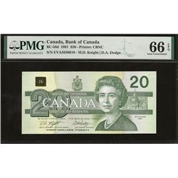 Bank of Canada BC-58d 1991 $20 GEM66 EPQ PMG