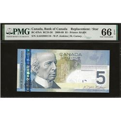 Bank of Canada BC-67bA 2009 $5 REPLACEMENT AAD2.89 GEM66 EPQ PMG
