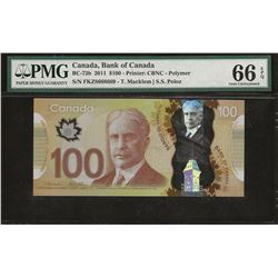 Bank of Canada BC-73b 2011 $100 GEM66 EPQ PMG