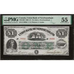 Union Bank of Newfoundland 750-14-06 1880 1 Pound AU55 PMG