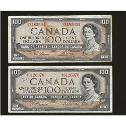 2 X Bank of Canada 1954 $100 VF