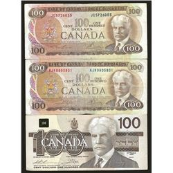 3 X Bank of Canada 1975 $100 & 1988 $100 VF and EF