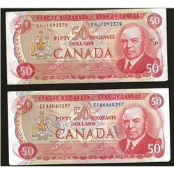 2 X Bank of Canada 1975 $50 VF+ writing
