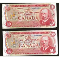 2 X Bank of Canada 1975 $50 VF+ writing