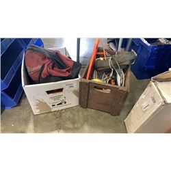 2 boxes and bag of tools and straps