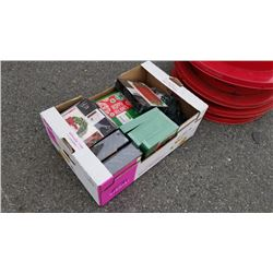 Box of new Christmas cards and lights