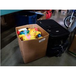 Box of vintage toys and 2 luggage cases
