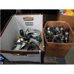 Two boxes of casters and wire wheel drill attachments