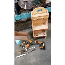 ROLLING WOOD TOOL CART AND TOOLS