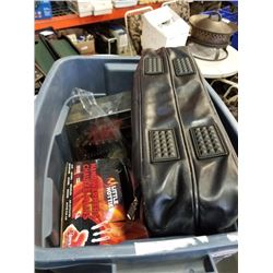 Tote of new hand warmers, laptop bag, ball clock and more