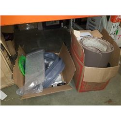 2 BOXES OF MOUSE PADS, POWER BAR BOX, HEAT PAD, VISORS