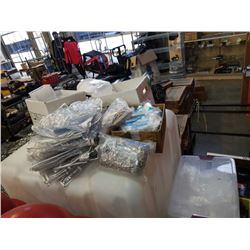 Lot of new garment bags, shoe covers, disposable plastic gloves, elastic bands, safety pins and more