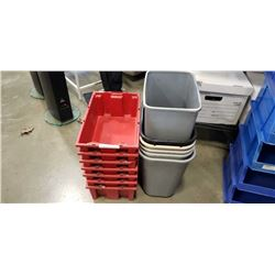 Lot of waste bins and red parts bins