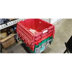 Stack of 5 storage totes with lids