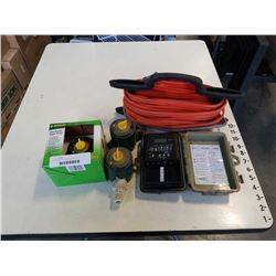 Lot of water timers and extension cord