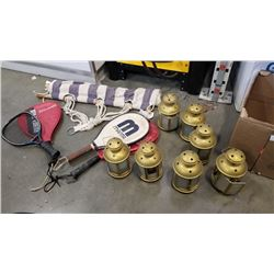 LOT OF TEALIGHT LANTERNS, HAMMOCK AND RACKETS