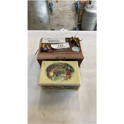 2 MUSICAL JEWELLERY BOXES W/ CONTENTS