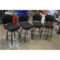 4 BLACK SWIVEL STOOLS WITH METAL BASES
