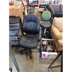 Rolling office chair and box of pots and pans