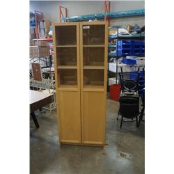MAPLE GLASS DOOR CABINET APPROX 80 INCHES TALL