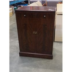 VINTAGE INLAID WOOD RECORD CABINET