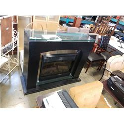 BLACK AND GLASS FIREPLACE MANTLE WITH ELECTRIC FIREPLACE INSERT