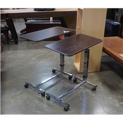 2 ADJUSTABLE HEIGHT ROLLING  BEDSIDE TABLES