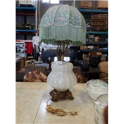 VINTAGE BRASS AND GLASS LAMP