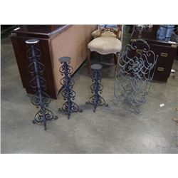 3 decorative metal candle stands and wine rack
