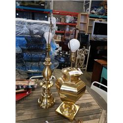 2 BRASS-TONE TABLE LAMPS