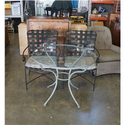 ROUND GLASSTOP PATIO TABLE WITH 2 METAL CHAIRS