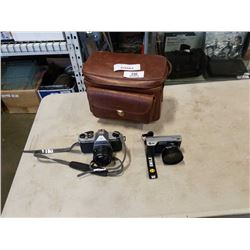 PENTAX K1000 CAMERA AND OTHER CAMERA IN LEATHER CASE