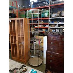 7ft tall metal and plexi retail display shelf