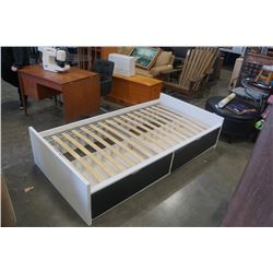 WHITE IKEA SINGLE SIZE BEDFRAME WITH 2 DRAWERS UNDER BED STORAGE