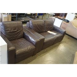 BROWN NATUZZI LEATHER LOVESEAT AND ARMCHAIR