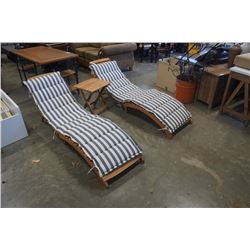 2 FOLDING SAFAVIEH DECK CHAIRS AND ENDTABLE