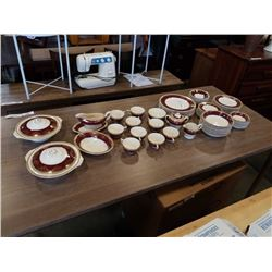 LARGE LOT OF CROWN DUCAL WARE ENGLISH CHINA- TEACUPS, SAUCERS, CREAM AND SUGAR, GRAVY BOAT, PLATES,