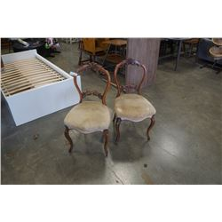 PAIR OF ANTIQUE CARVED BALOON BACK PARLOUR CHAIR